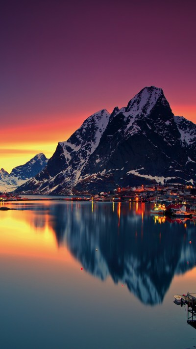 Wallpaper Norway, Lofoten islands, Europe, Mountains, sea, sunrise, 5k, Nature #16595