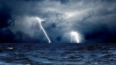 Wallpaper Sea, 5k, 4k wallpaper, 8k, ocean, storm, lightning, clouds, Nature #5738
