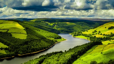 Wallpaper UK, 4k, HD wallpaper, hills, river, trees, sky, Nature #5284