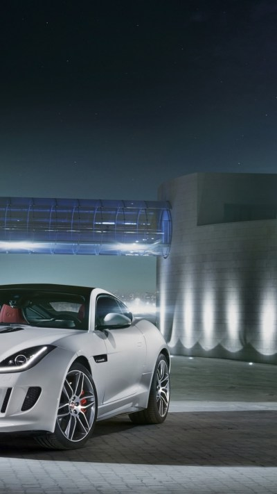 720x1280 2014 Jaguar F-Type R Coupe Polaris White Static Front Angle Galaxy s3 wallpaper