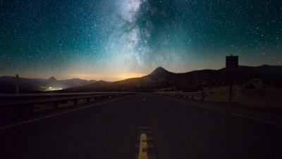 Starry Sky Horizon Night Road wallpapers | Starry Sky Horizon Night Road stock photos