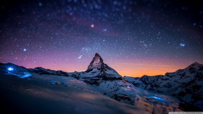 Mountain at Night 4K HD Desktop Wallpaper for 4K Ultra HD TV • Tablet • Smartphone • Mobile Devices