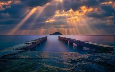 sunrise, Sea, Sun Rays, Clouds, Island, Coast, Dock, Water, Blue, Yellow, Nature, Landscape ...