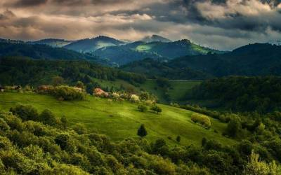 nature, Landscape, Spring, Forest, House, Field, Mountain, Clouds, Green, Sky, Trees, Grass ...