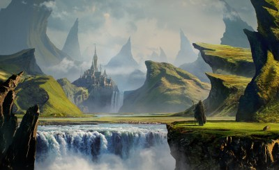 landscape, Digital Art, River, Mountain, Castle, DeviantArt Wallpapers HD / Desktop and Mobile ...