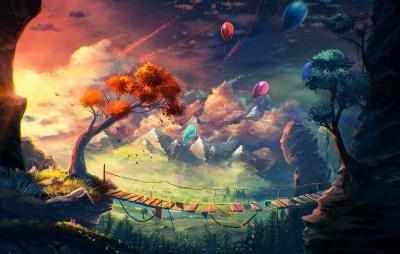 anime, Artwork, Fantasy Art, Mountain, Bridge, Balloons, Sylar, Clouds Wallpapers HD / Desktop ...