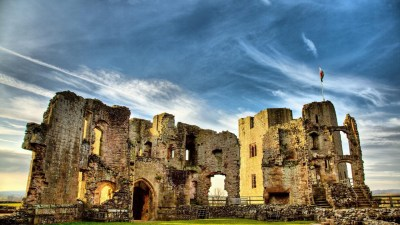 architecture, Castle, Nature, Landscape, Hill, Trees, Forest, Wales, UK, Ruin, Clouds, Walls ...
