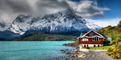 nature, Landscape, Mountain, House, Lake, Clouds, Chile, Snowy Peak, Grass, Turquoise, Water ...