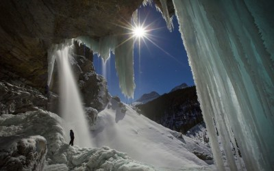 nature, Landscape, Waterfall, Moonlight, Starry Night, Banff National Park, Ice, Winter, Cave ...