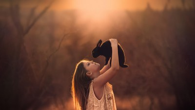 rabbits, Children, Looking Up, Animals, Jake Olson Wallpapers HD / Desktop and Mobile Backgrounds