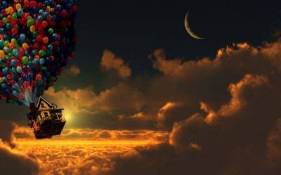 Up (movie), Sunset, Balloons, House, Moon, Crescent Moon, Clouds Wallpapers HD / Desktop and ...