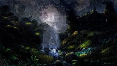 river, Grass, Trees, Rock, DeviantArt, Fantasy Art Wallpapers HD / Desktop and Mobile Backgrounds