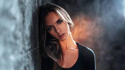 women, Blue Eyes, Brunette, Georgy Chernyadyev, Portrait, Black Clothing, Against Wall ...