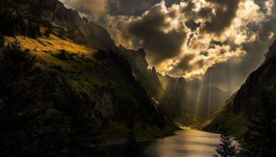 nature, Photography, Landscape, Sun Rays, Mountains, Sunlight, Dark, Clouds, Lake, Trees ...