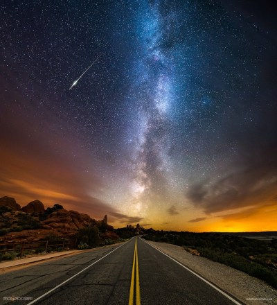 landscape, Long exposure, Stars, Road, Milky Way Wallpapers HD / Desktop and Mobile Backgrounds