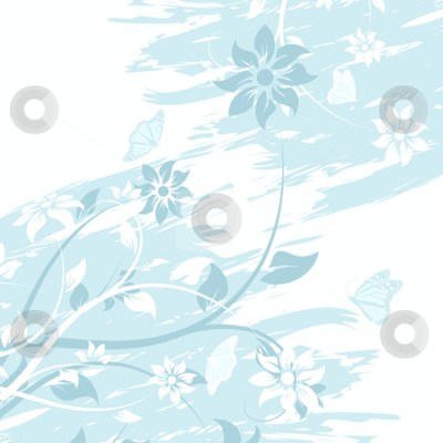 Grunge vector flower background with butterfly stock photo