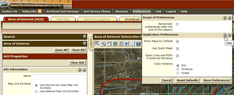 Web Soil Survey   Tips and Shortcuts Web Soil Survey has a preferences link on the main navigation bar   Preferences are described