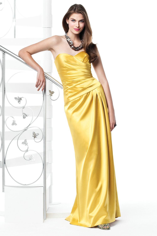 yellow bridesmaid dresses yellow wedding dress Yellow Satin Bridesmaid Dresses