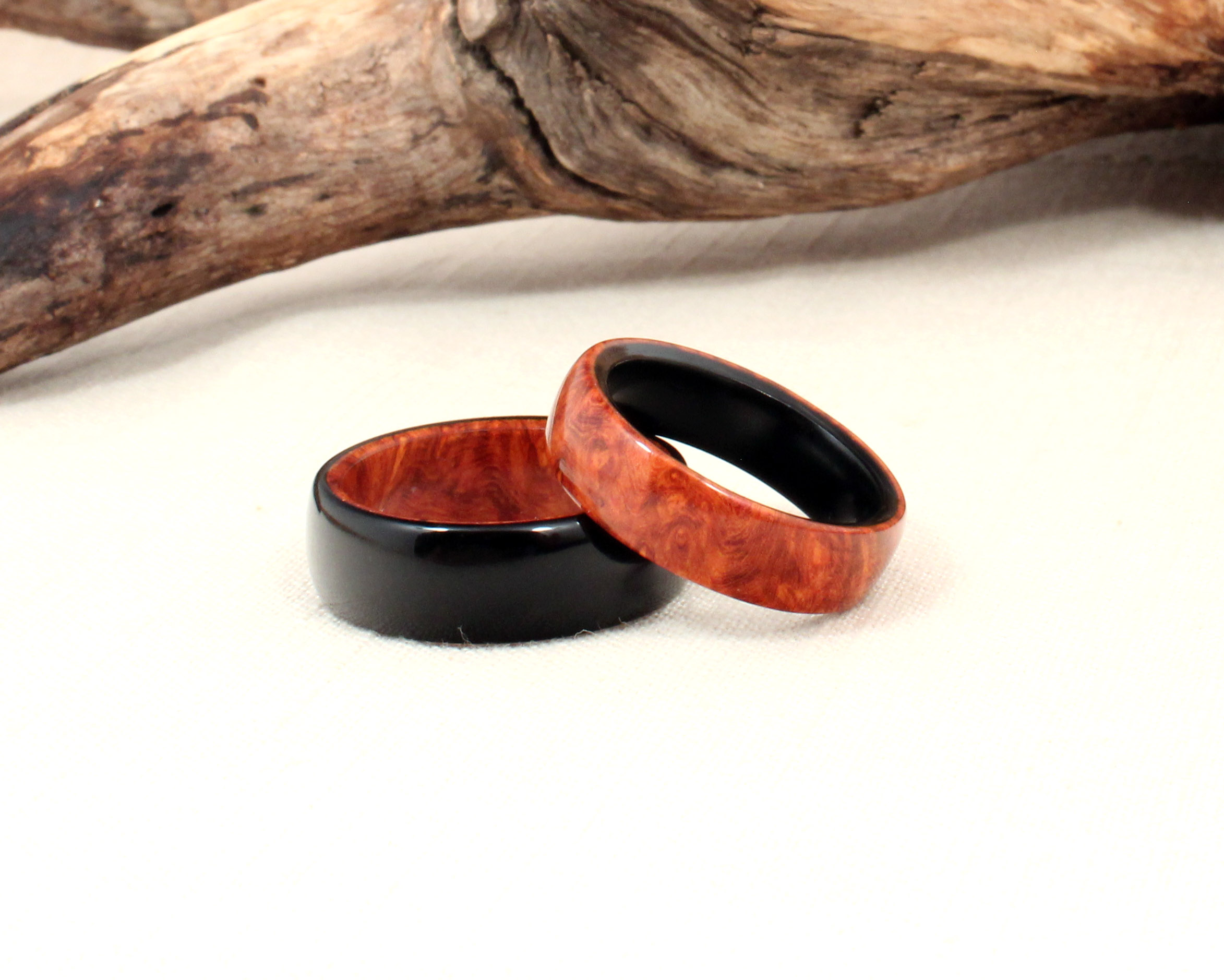 custom set amboyna burl and ebony wooden wedding rings wood wedding band https www etsy com listing matching pair lined wooden rings