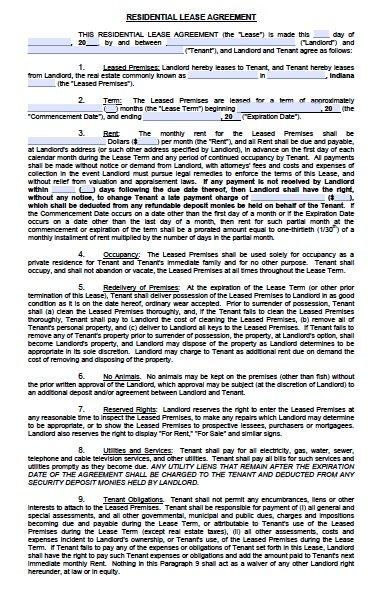 Download Indiana Rental Lease Agreement Forms and Templates wikiDownload
