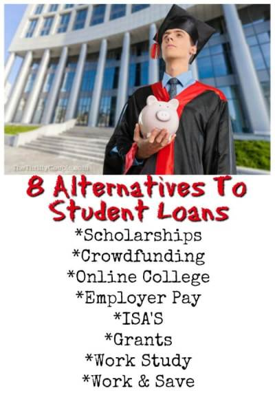 8 Alternatives to Student Loans To Pay For College Debt Free - The Thrifty Couple