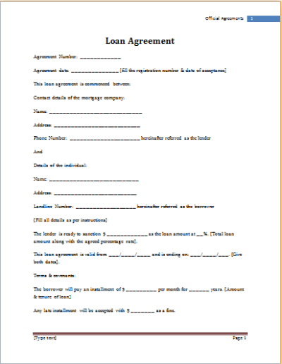MS Word Loan Agreement Template | Word Document Templates