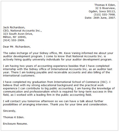 Accounting Cover Letter Examples - Cover Letter Now