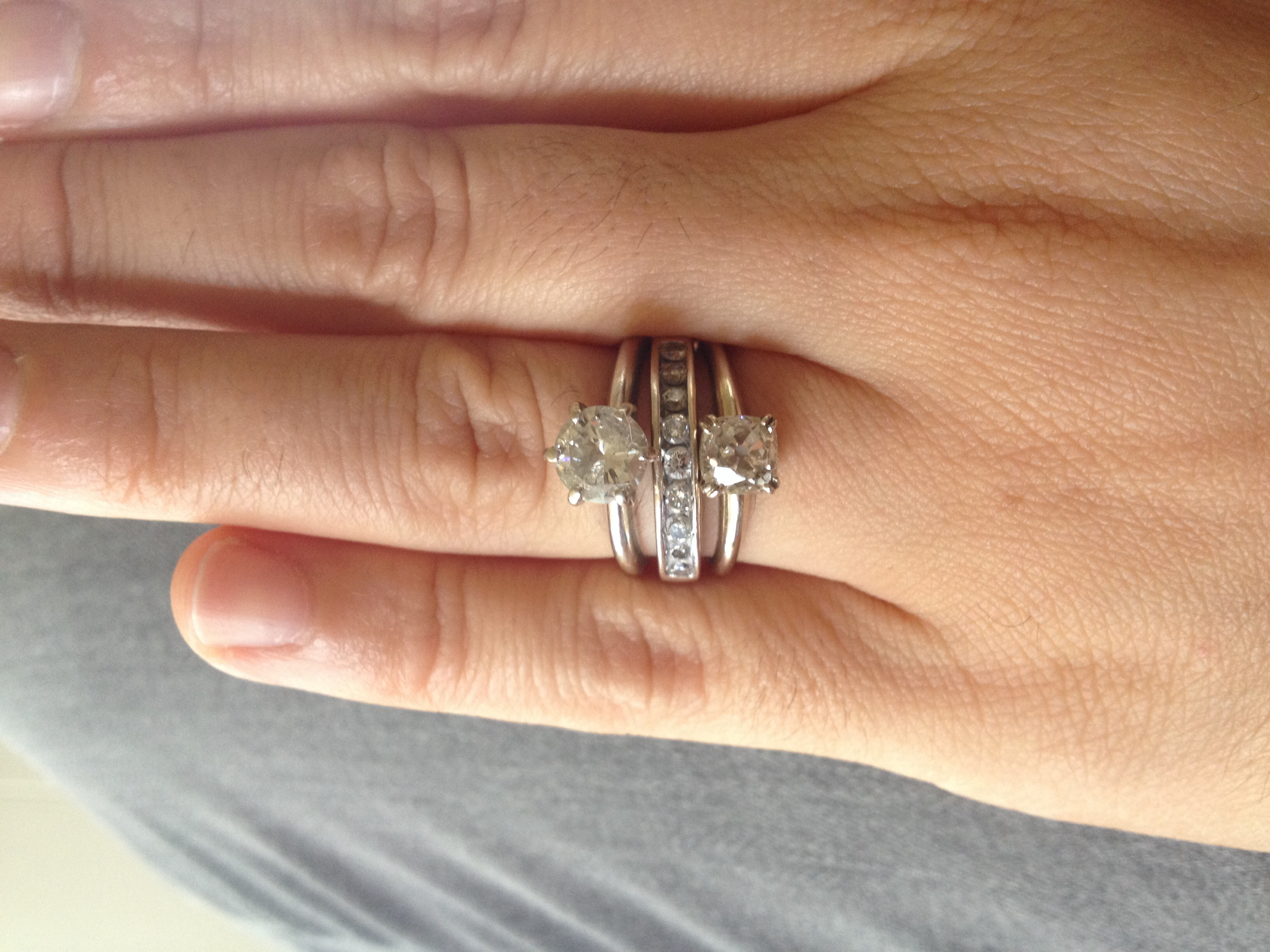 old engagement ring upgrade and playing with stacking stacked wedding rings set Old engagement ring upgrade and playing with stacking