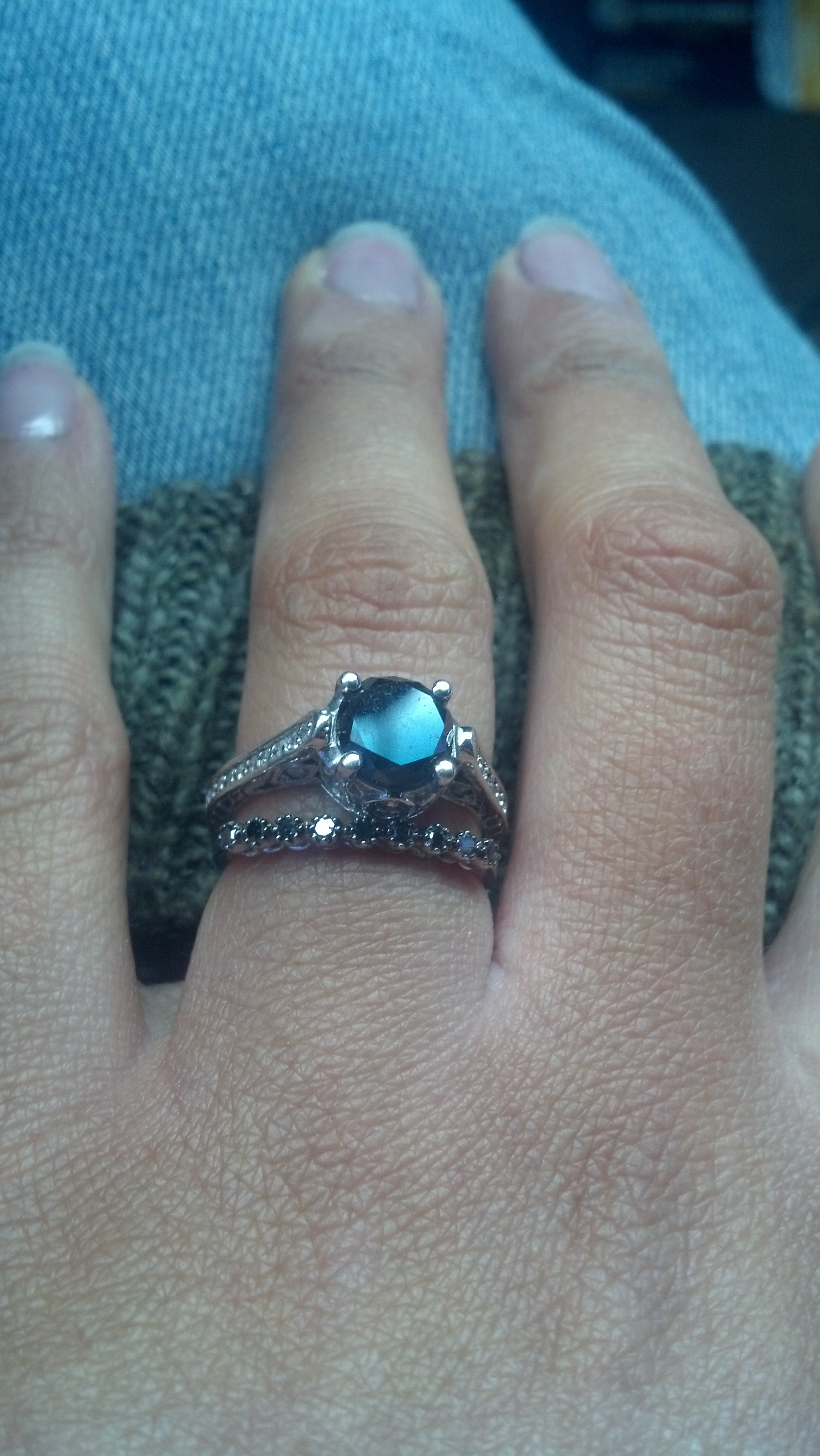 i found my wedding ring i thinkright wedding band enhancers The very dainty black diamond band The black and white enhancer was to much the white enhancers curbs bothered me they are actually two seperate rings