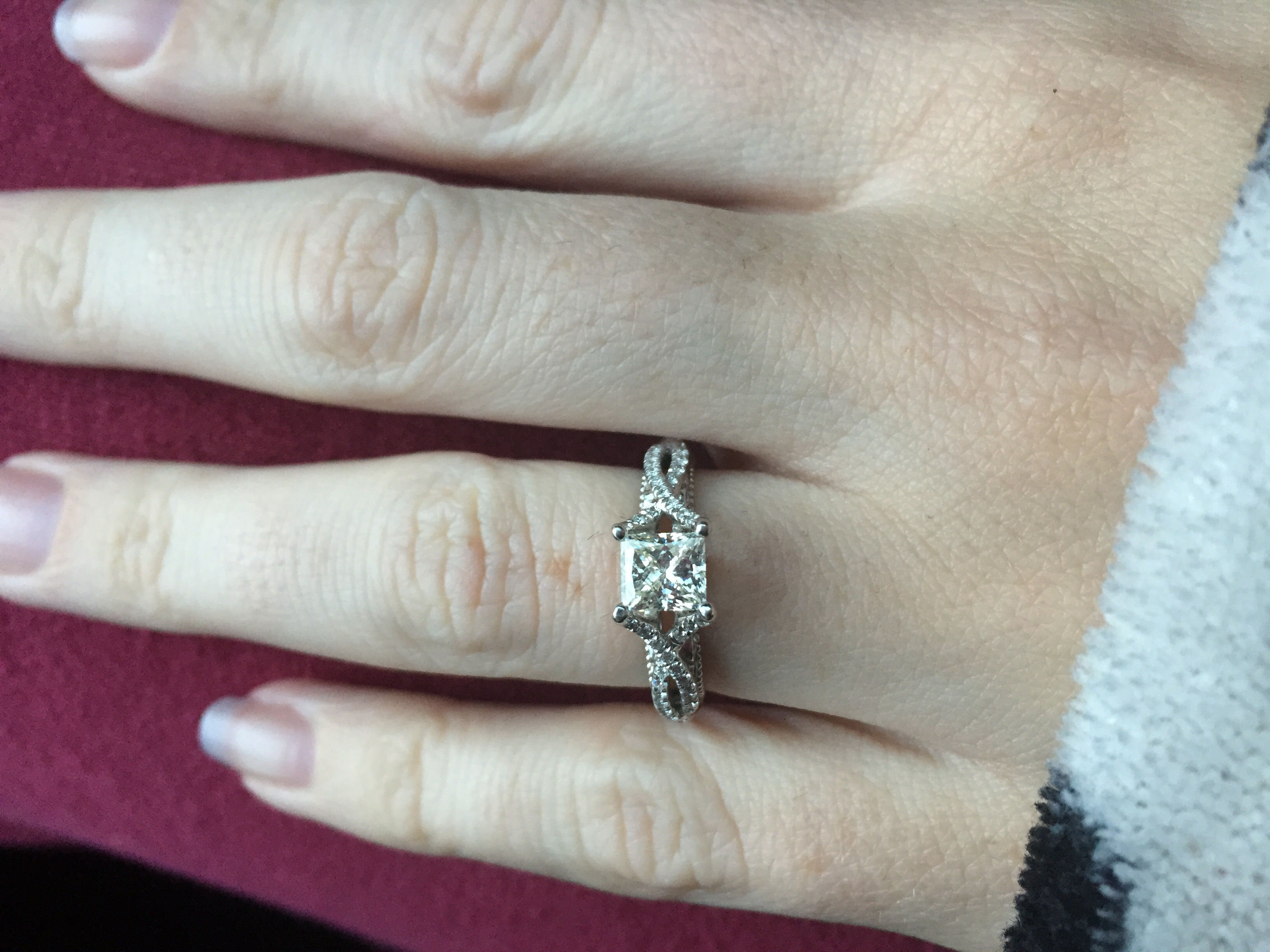 please post pictures of your verragio engagement rings verragio wedding band Mines a Venetian p 18k white gold size 5 with 1ct princess cut center stone