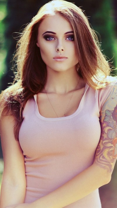 Hot Tattoo Girl in Pink Dress