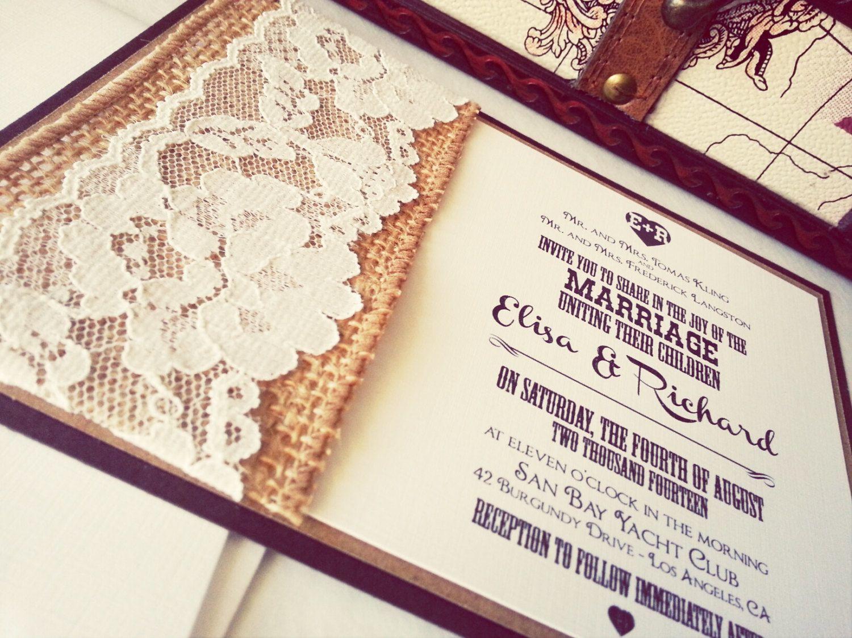 20 astonishing rustic wedding invitations ideas rustic country wedding invitations Burlap and lace inspired wedding invitation printable