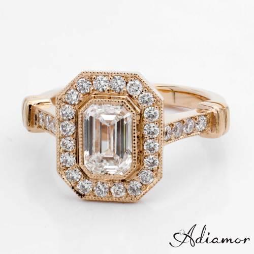 emerald cut diamond custom engagement rings custom wedding rings Custom Rose Gold Emerald Cut Diamond Engagement Ring