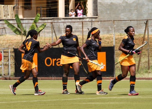 Orange Kenya players celebrate one of seven goals they put past Heartlands of Nigeria in semifinal match.