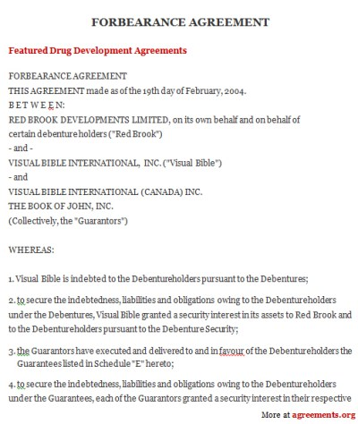 Forbearance Agreement, Sample Forbearance Agreement Template