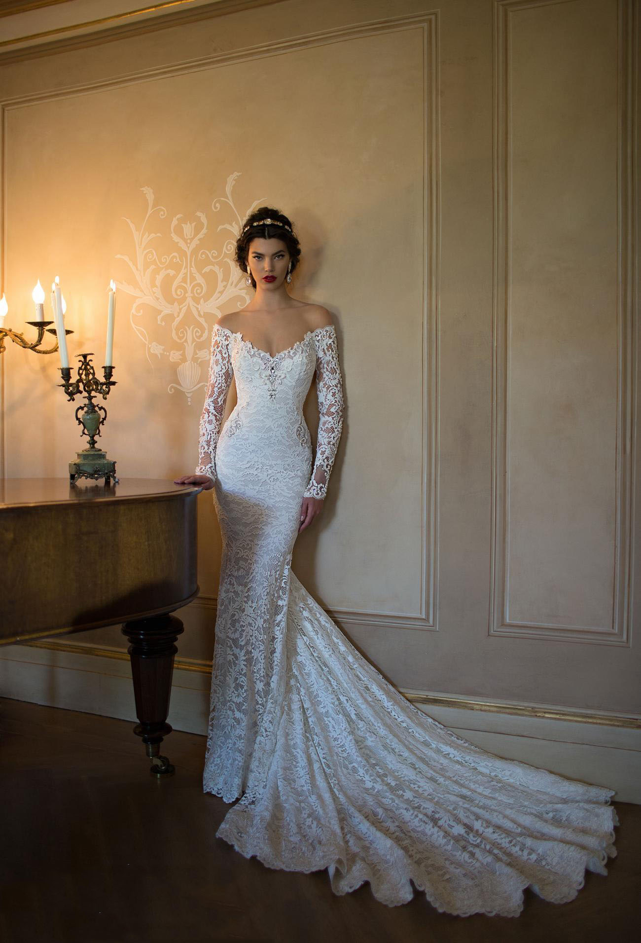 wedding dresses c 68 wedding dresses mermaid lace Off the Shoulder V Neck Crystal Detailling Lace Mermaid Wedding Dress with Long Sleeves