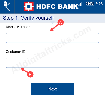 How To Activate HDFC Mobile Banking - Set Quick Access PIN - AllDigitalTricks