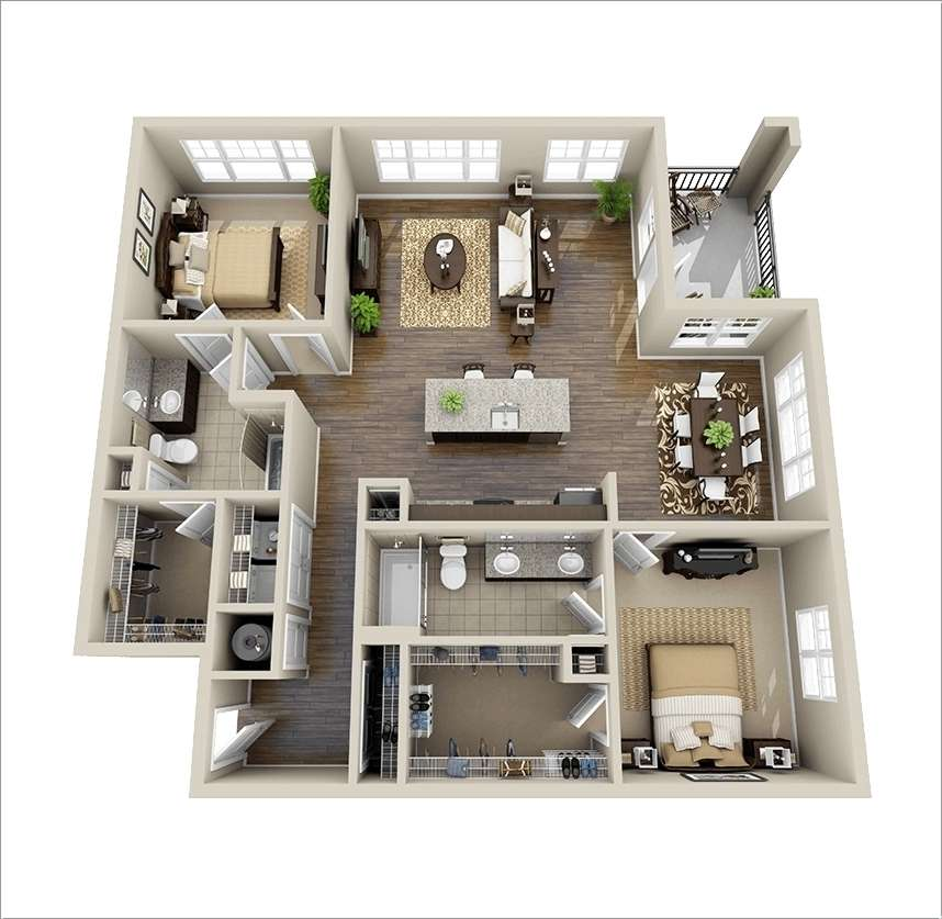 10 Awesome Two Bedroom Apartment 3D Floor Plans 1