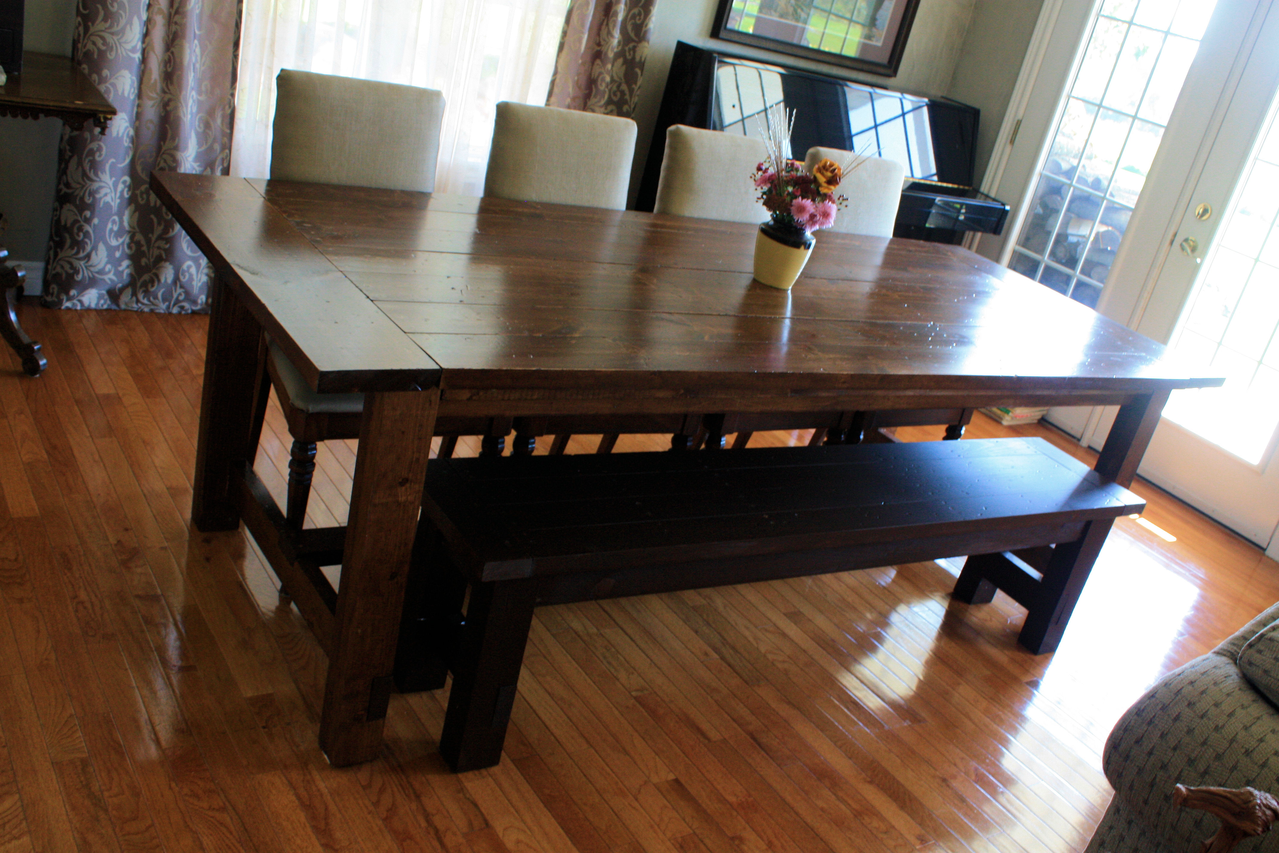 super big farmhouse dining table and bench large kitchen tables Super Big Farmhouse Dining Table and Bench
