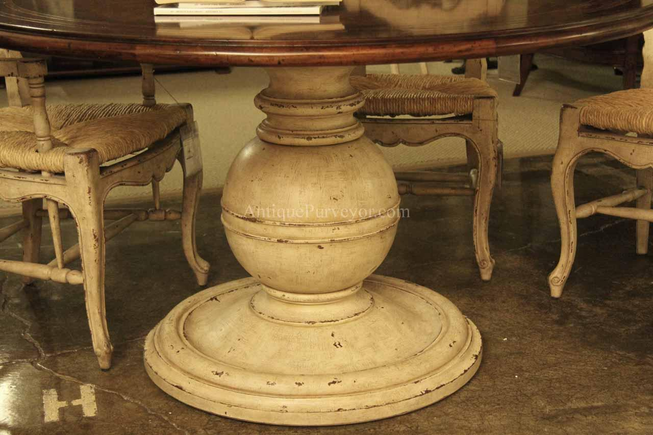 64 inch round country kitchen table with distressed painted pedestal 11848