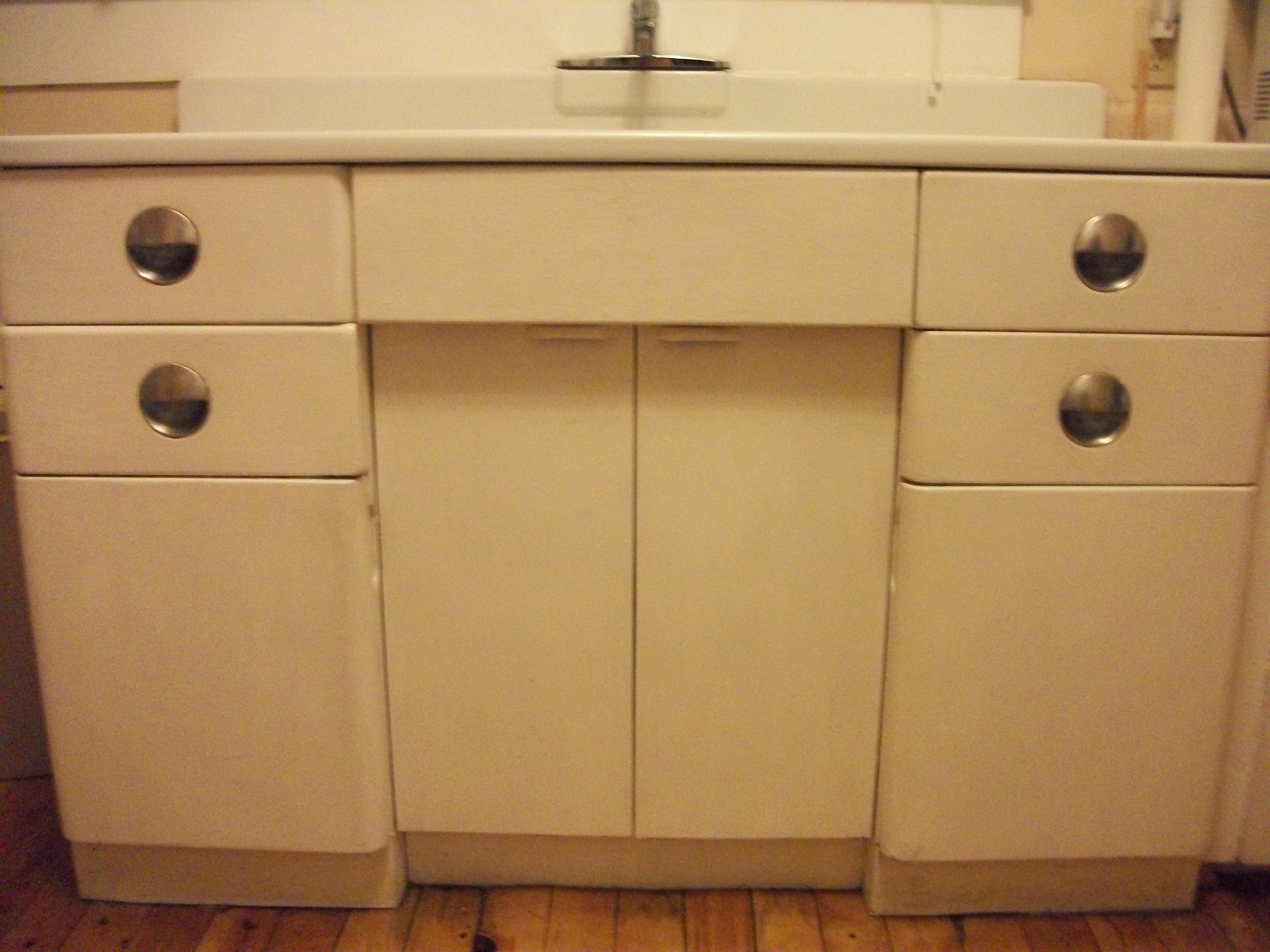 Antique Metal Kitchen Cabinet and Porcelain Sink sears kitchen cabinets Metal Kitchen Cabinet and Porcelain Sink For Sale Antiques com Classifieds