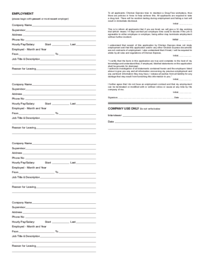 Free Printable Chicken Express Job Application Form Page 2