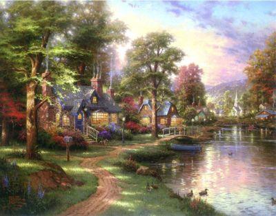 Thomas Kinkade Hometown Lake Cross Stitch Pattern LOOK