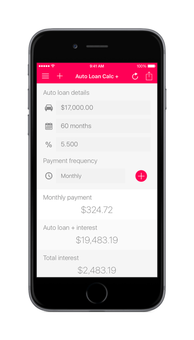Auto Loan Calculator + for iOS: Weekly, Bi-weekly, and Monthly Frequency Options | Increase ...