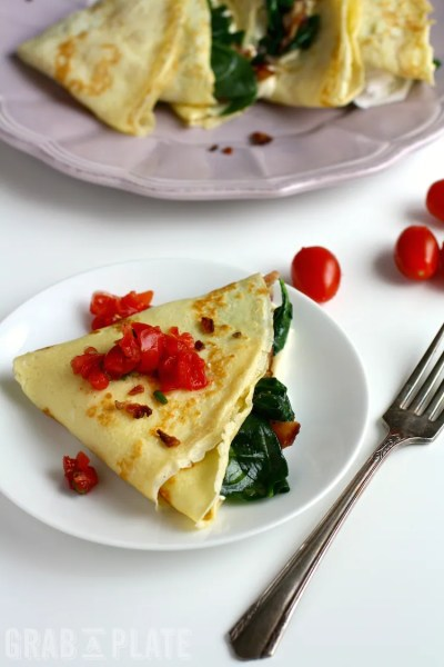 Spinach, Bacon, and Brie Breakfast Crêpes