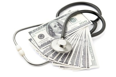 Bankruptcy Information | Stethoscope and money symbol for health care costs
