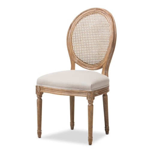 affordable modern furniture outlet cheap kitchen chairs Baxton Studio Adelia French Vintage Cottage Weathered Oak Finish Wood and Beige Fabric Upholstered Dining Side