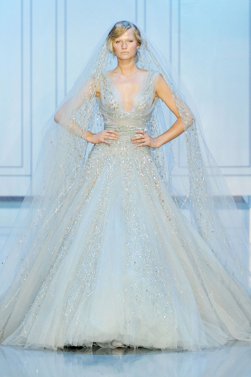 breaking the wedding colour rules would you dare wedding dress blue Elie Saab Couture Bride in Blue
