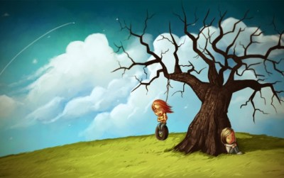 Sad And Happy Couple Art wallpapers