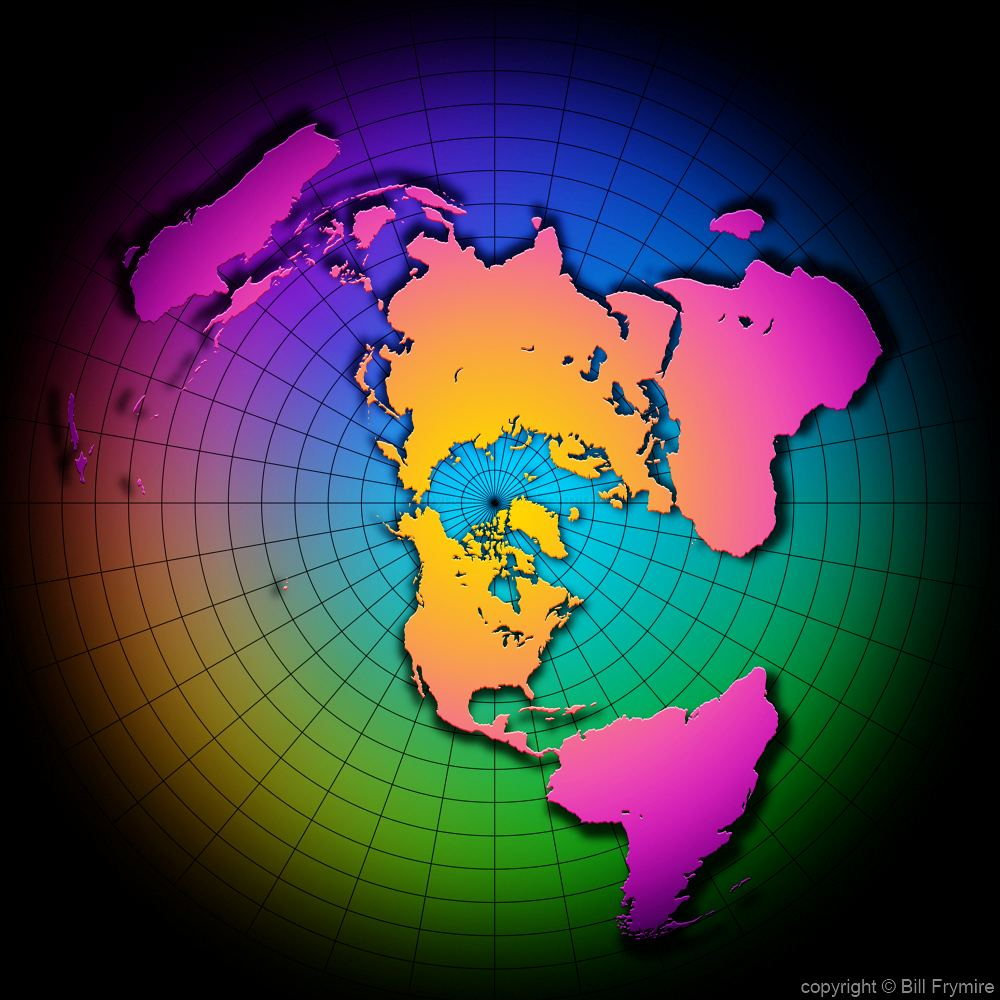 colorful globe  overhead view